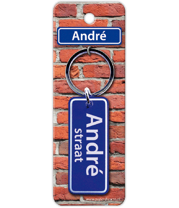 Straatnaam sleutelhanger - André
