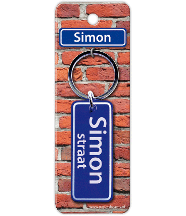 Straatnaam sleutelhanger - Simon