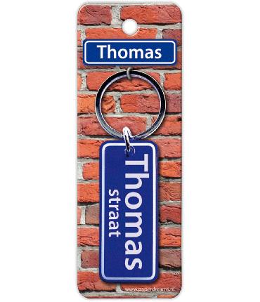 Straatnaam sleutelhanger - Thomas