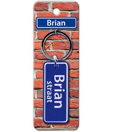 Straatnaam sleutelhanger - Brian