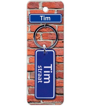 Straatnaam sleutelhanger - Tim