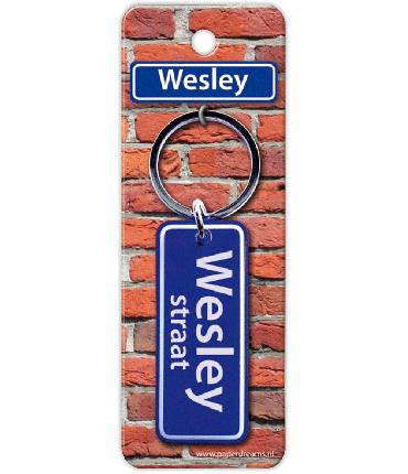 Straatnaam sleutelhanger - Wesley