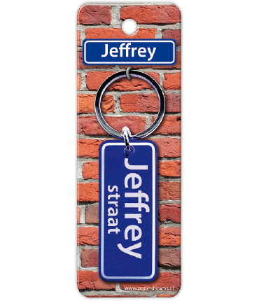 Straatnaam sleutelhanger - Jeffrey