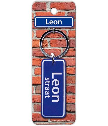 Straatnaam sleutelhanger - Leon