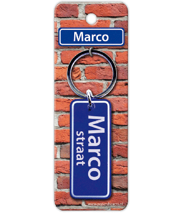 Straatnaam sleutelhanger - Marco