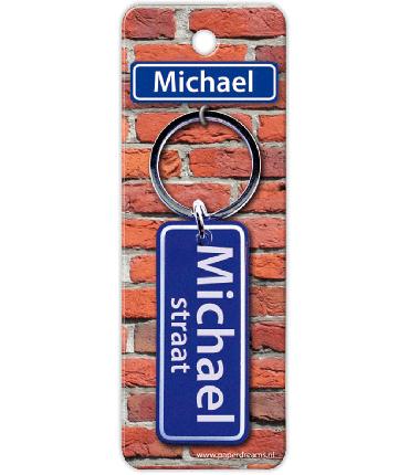 Straatnaam sleutelhanger - Michael