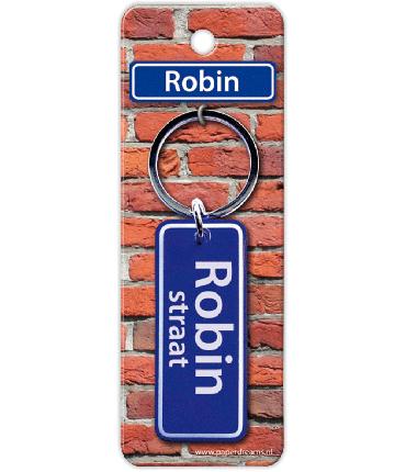 Straatnaam sleutelhanger - Robin (man)