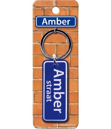 Straatnaam sleutelhanger - Amber