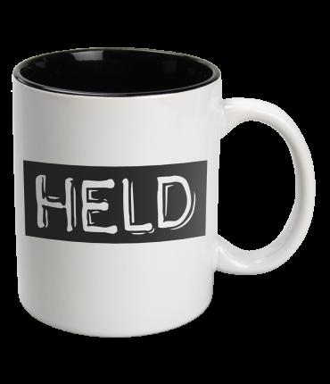 Black & White Mugs - Held-White