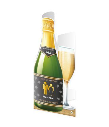 Champagne kaart - Mr. & Mrs.