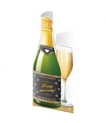 Champagne kaart - Happy anniversary