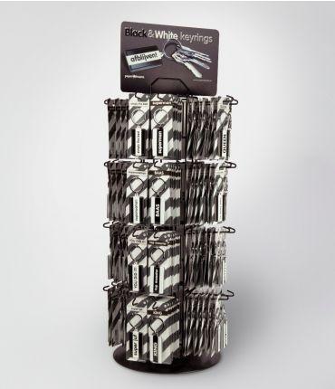 Shopbox Black & White keyrings (incl. display)
