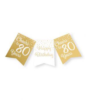 Party flag banner gold/white - 80