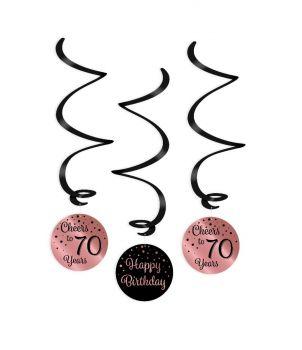 Swirl decorations rose/black - 70