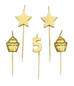 Party cake candles - 5 years