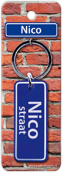 Straatnaam sleutelhanger - Nico
