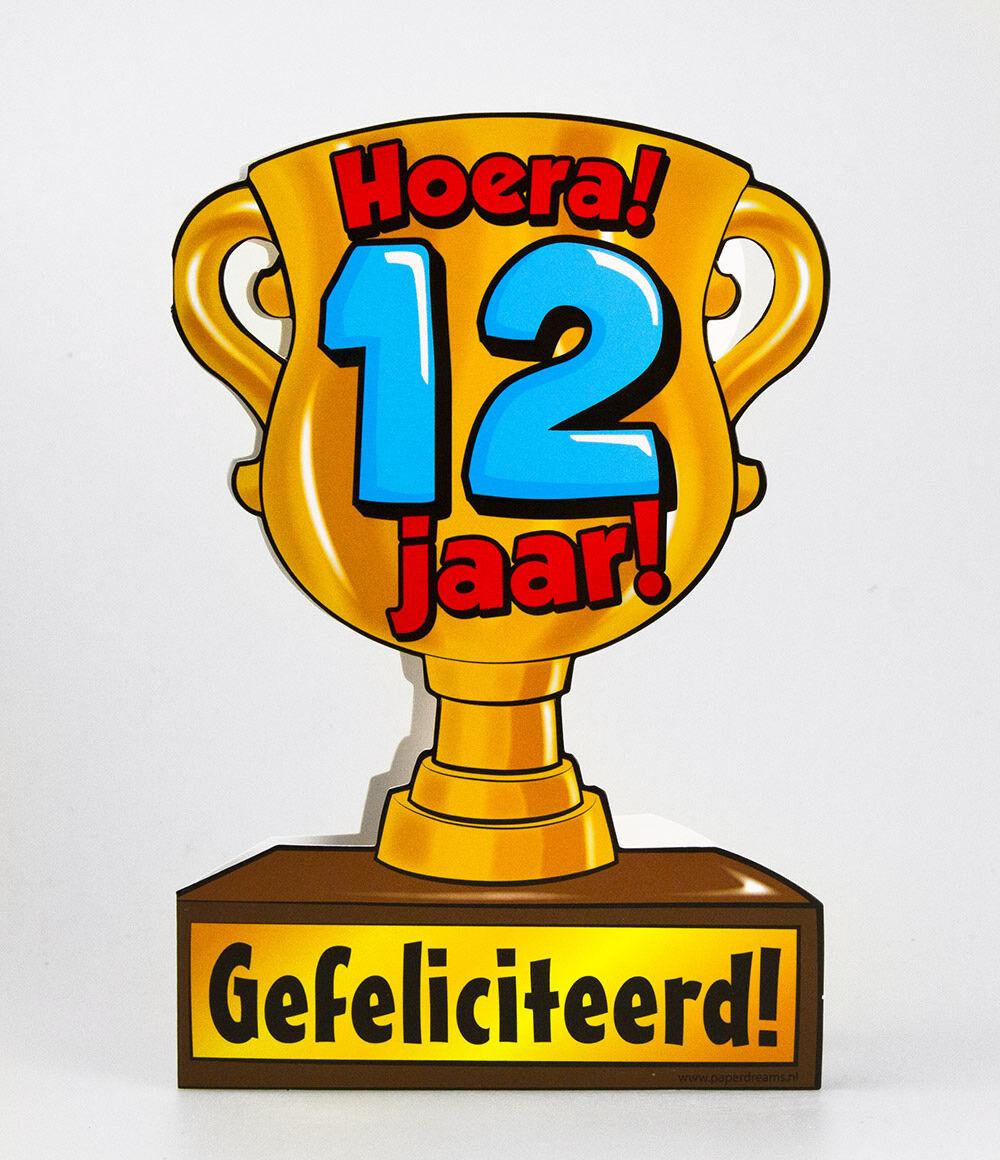 gefeliciteerd 12 jaar Paper Dreams trofee kaart 12 jaar gefeliciteerd 12 jaar